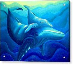 Humpback With Calf Acrylic Print by Lynn Soehner