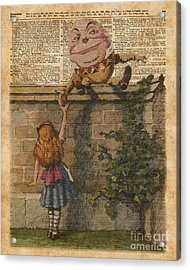 Humpty Dumpty Alice In Wonderland Vintage Dictionary Art Acrylic Print by Jacob Kuch