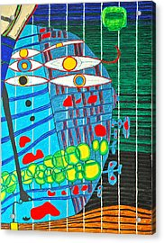 Hundertwasser Blue Moon Atlantis Escape To Outer Space In 3d By J.j.b Acrylic Print