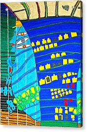Hundertwasser Blue Moon Atlantis Escape To Outer Space Acrylic Print