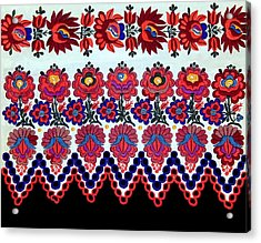 Hungarian Folk Art Embroidery From Sioagard Acrylic Print by Andrea Lazar