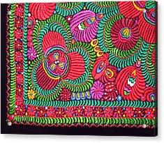 Hungarian Magyar Matyo Folk Embroidery  Acrylic Print