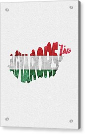 Hungary Typographic Map Flag Acrylic Print
