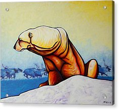 Hunger Burns - Polar Bear And Caribou Acrylic Print by Joe  Triano