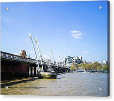 Acrylic Print featuring the photograph Hungerford Bridge And Golden Jubilee Bridges by Stewart Marsden
