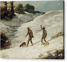 Hunters In The Snow Or The Poachers Acrylic Print by Gustave Courbet