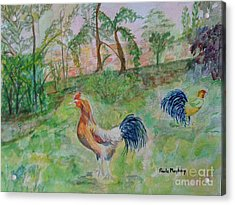 Hunting Cockerels Acrylic Print