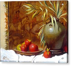 Hunting Tapestry With Chinese Vase And Apples Acrylic Print by David Olander