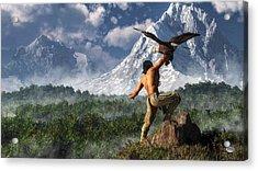 Hunting With An Eagle Acrylic Print by Daniel Eskridge