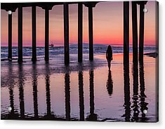 Huntingdon Beach Pier Silhouette At Sunset Acrylic Print