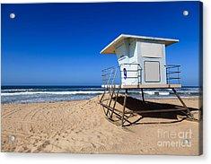 Huntington Beach Lifeguard Tower Photo Acrylic Print by Paul Velgos