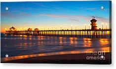 Huntington Beach Pier - Twilight Acrylic Print by Jim Carrell