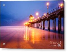 Huntington Beach Pier At Sunrise Acrylic Print by Paul Velgos