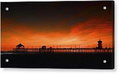 Huntington Beach Pier Acrylic Print by DRK Studios