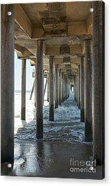 Acrylic Print featuring the photograph Huntington Beach Pier From Below by Ana V Ramirez