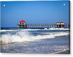 Huntington Beach Pier Photo Acrylic Print by Paul Velgos