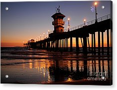 Huntington Beach Pier Acrylic Print by Timothy OLeary