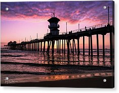 Huntington Pier At Sunset 2 Acrylic Print