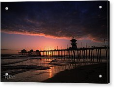 Huntington Pier At Sunset Acrylic Print