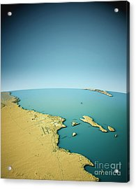 Hurghada 3d View South-north Natural Color Acrylic Print by Frank Ramspott