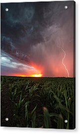Acrylic Print featuring the photograph Huron Lightning  by Aaron J Groen