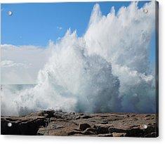 Hurricane Igor At Schoodic Point Maine Acrylic Print by Francine Frank