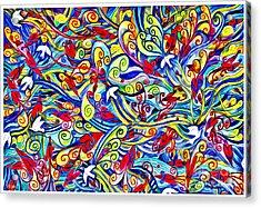 Hurricane Of Doves And Hearts Acrylic Print