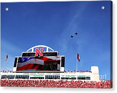 Husker Memorial Stadium Air Force Fly Over Acrylic Print