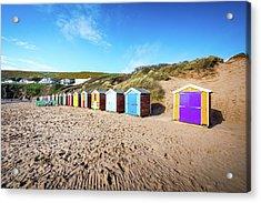 Huts On A Beach Acrylic Print by Svetlana Sewell
