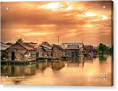 Acrylic Print featuring the photograph Huts On Water by Charuhas Images