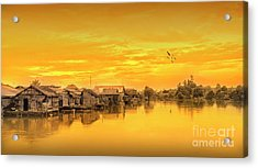 Acrylic Print featuring the photograph Huts Yellow by Charuhas Images