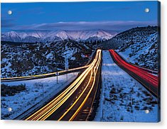 Hwy. 395 At Blue Hour Acrylic Print by Cat Connor