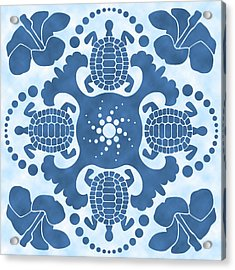 Hybiscus And Turtle Hawaiian Quilt Block Acrylic Print
