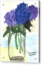 Hydangeas On The Table Acrylic Print by Kevin Callahan