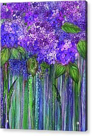 Acrylic Print featuring the mixed media Hydrangea Bloomies 1 - Purple by Carol Cavalaris