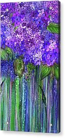 Acrylic Print featuring the mixed media Hydrangea Bloomies 2 - Purple by Carol Cavalaris