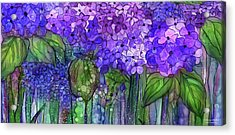 Acrylic Print featuring the mixed media Hydrangea Bloomies 4 - Purple by Carol Cavalaris