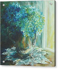 Acrylic Print featuring the painting Hydrangea Sold by Gloria Turner