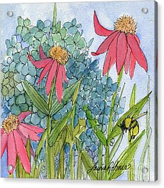 Hydrangea With Bee Acrylic Print