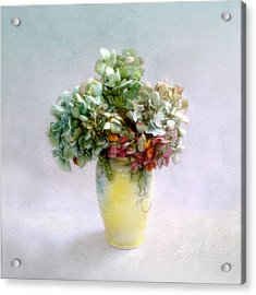 Acrylic Print featuring the photograph Hydrangeas In Autumn Still Life by Louise Kumpf