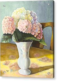 Acrylic Print featuring the painting Hydrangeas by Marlene Book