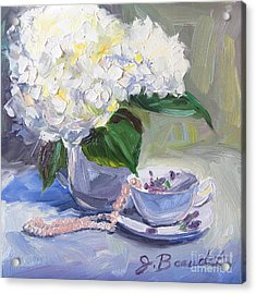 Hydrangeas With Pearls  Acrylic Print by Jennifer Beaudet