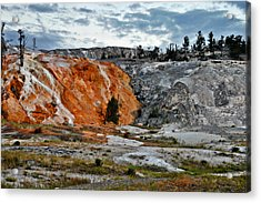 Hymen Terrace At Mammoth Hot Springs - Yellowstone National Park Wy Acrylic Print by Christine Till