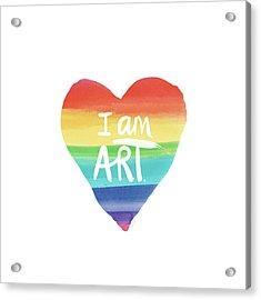I Am Art Rainbow Heart- Art By Linda Woods Acrylic Print