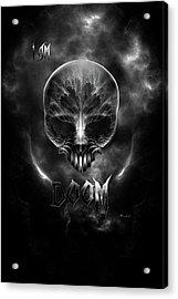 I Am Doom Fractal Gothic Skull Acrylic Print