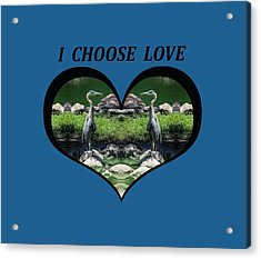 I Chose Love With A Heart Framing Blue Herons Acrylic Print