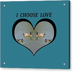 I Choose Love With A Spoonbill Duck And Geese On A Pond In A Heart Acrylic Print