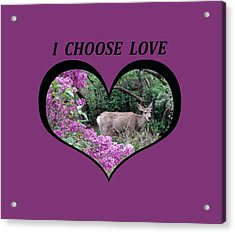 I Chose Love With Deers Among Lilacs In A Heart Acrylic Print