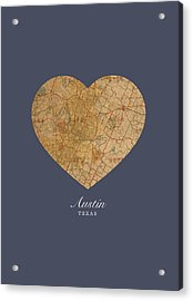 I Heart Austin Texas Vintage City Street Map Americana Series No 028 Acrylic Print