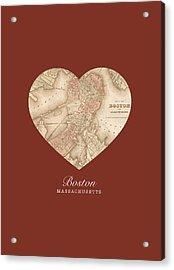I Heart Boston Massachusetts Vintage City Street Map Americana Series No 011 Acrylic Print